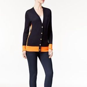 Michael Kors Color Block Navy Button Cardigan S